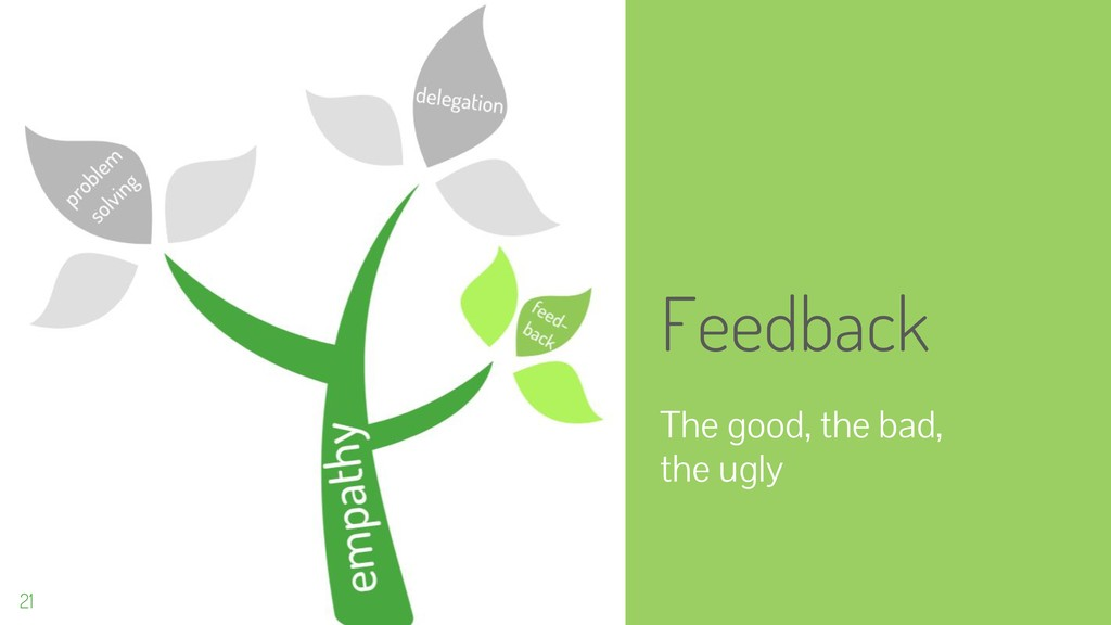 Feedback The good, the bad, the ugly 21