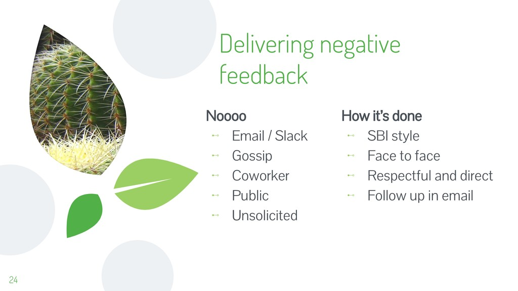 Delivering negative feedback Noooo ⊷ Email / Sl...