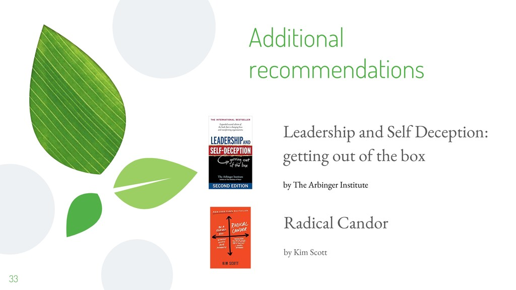 Additional recommendations 33 Leadership and Se...