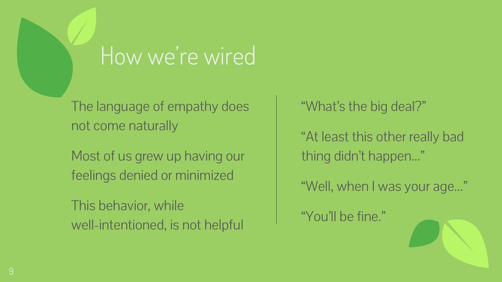 9 9 How we're wired The language of empathy doe...