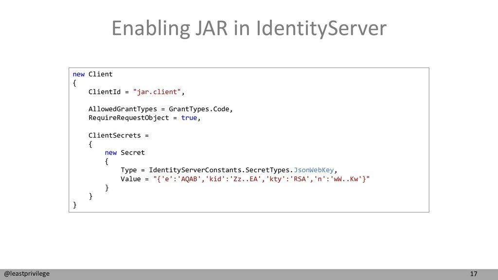 17 @leastprivilege Enabling JAR in IdentityServ...