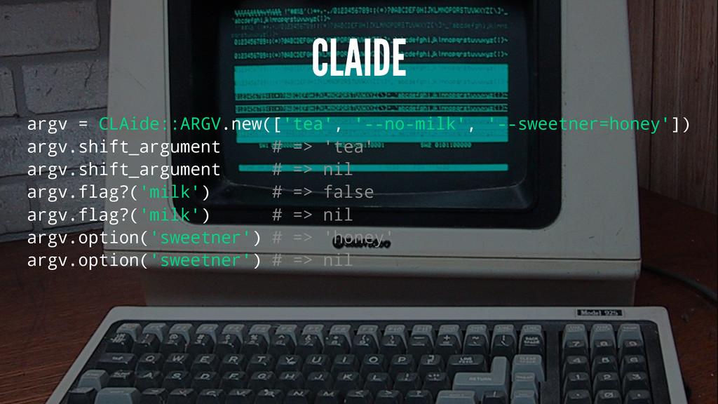CLAIDE argv = CLAide::ARGV.new(['tea', '--no-mi...