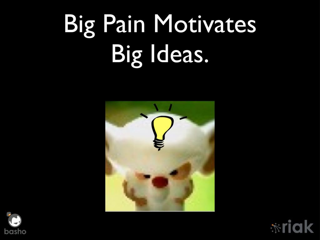 Big Pain Motivates Big Ideas.