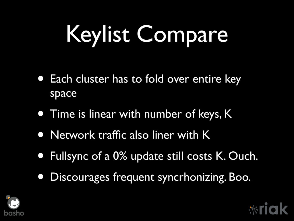 Keylist Compare • Each cluster has to fold over...
