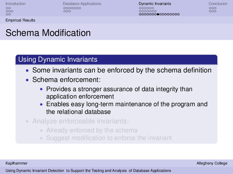 Introduction Database Applications Dynamic Inva...