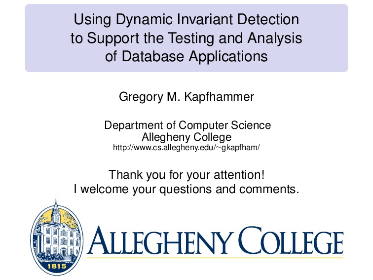 Using Dynamic Invariant Detection to Support th...