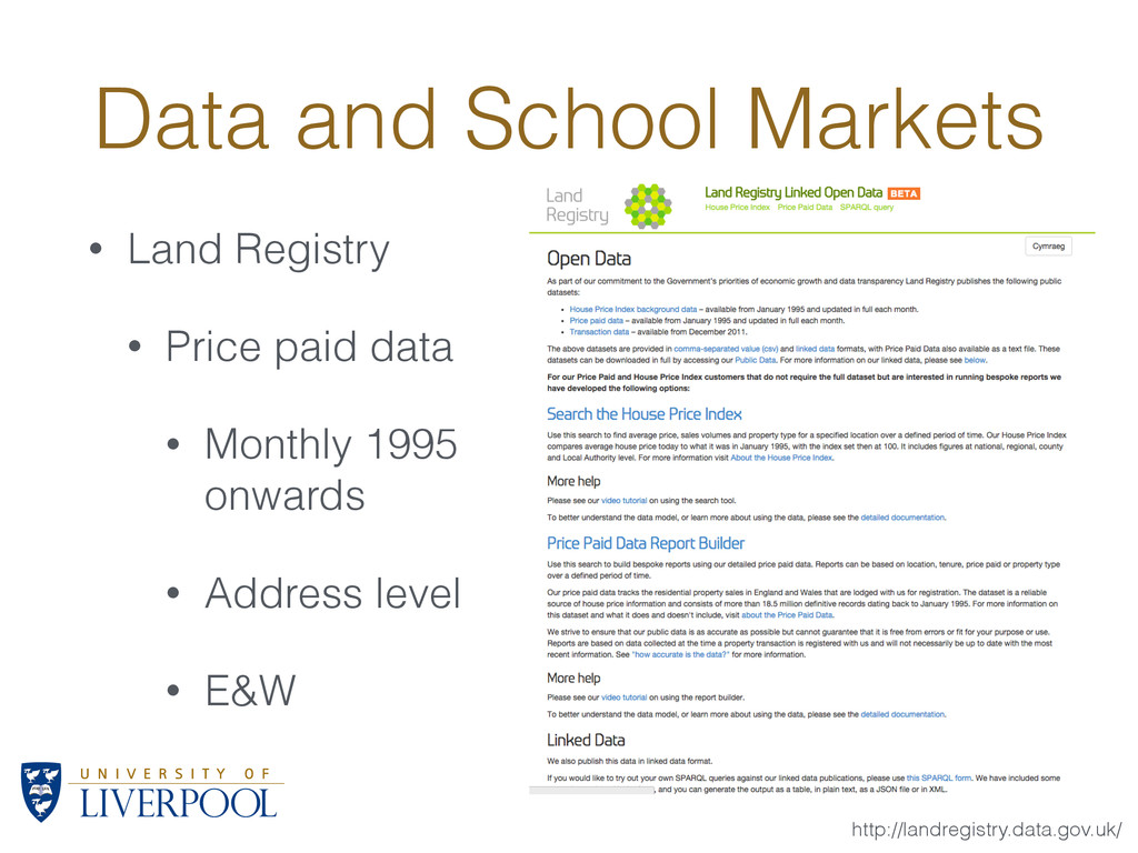 Data and School Markets • Land Registry • Price...