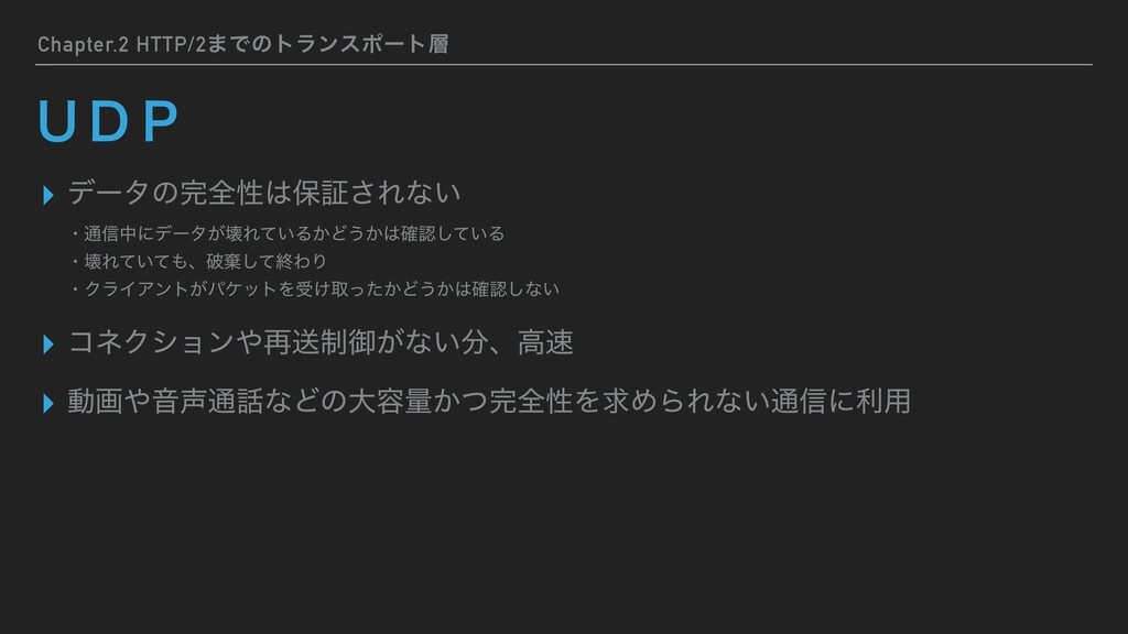 Chapter.2 HTTP/2·Ͱͷτϥϯεϙʔτ ▸ σʔλͷશੑอূ͞Εͳ͍ ▸ ...