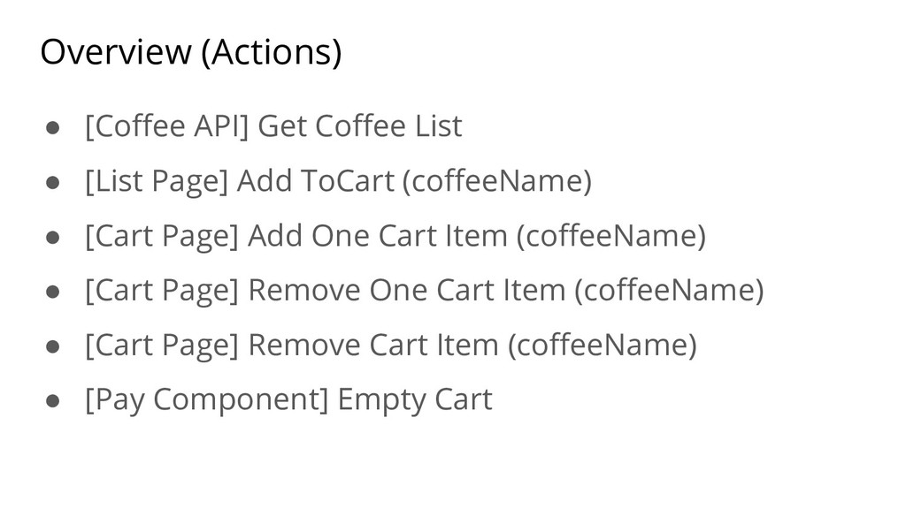 Overview (Actions) ● [Coffee API] Get Coffee Li...