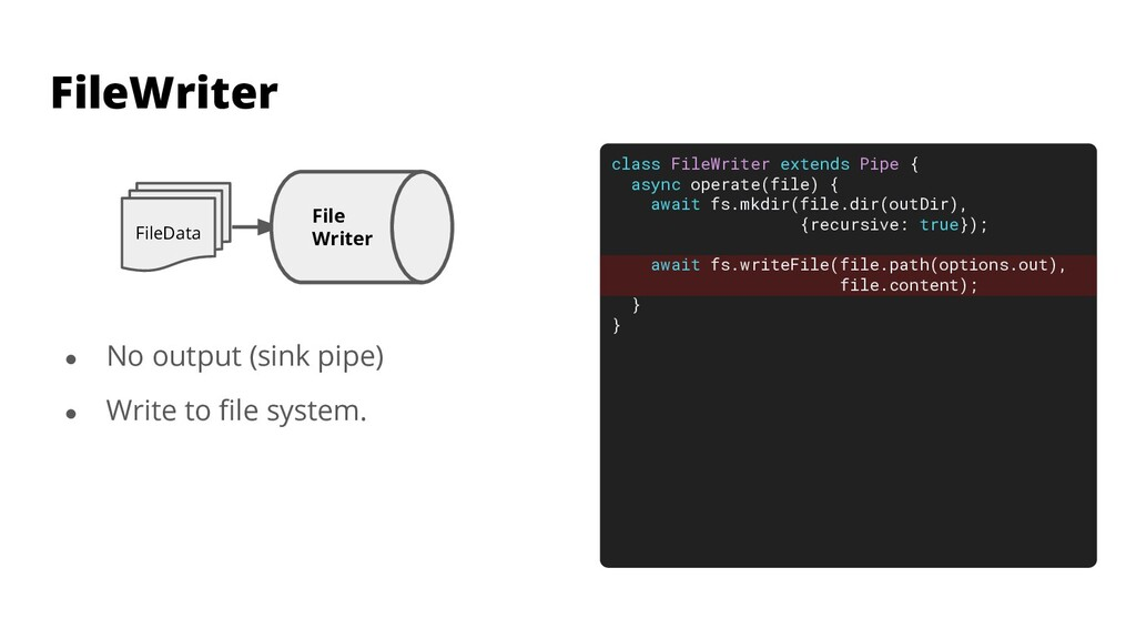 class FileWriter extends Pipe { async operate(f...