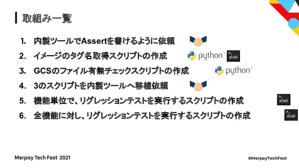 #MerpayTechFest 取組み一覧 1. 内製ツールでAssertを書けるように依頼 ...