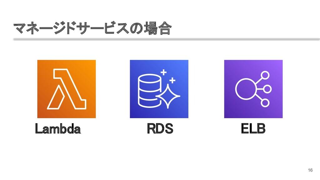 マネージドサービスの場合 16 Lambda RDS ELB