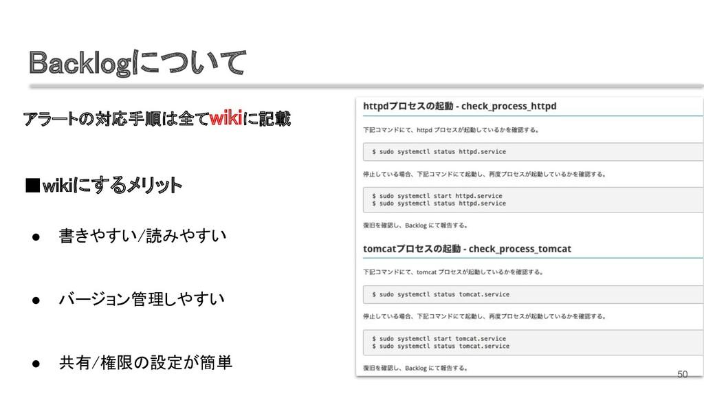 アラートの対応手順は全てwikiに記載  ■wikiにするメリット  ● 書きやすい/...
