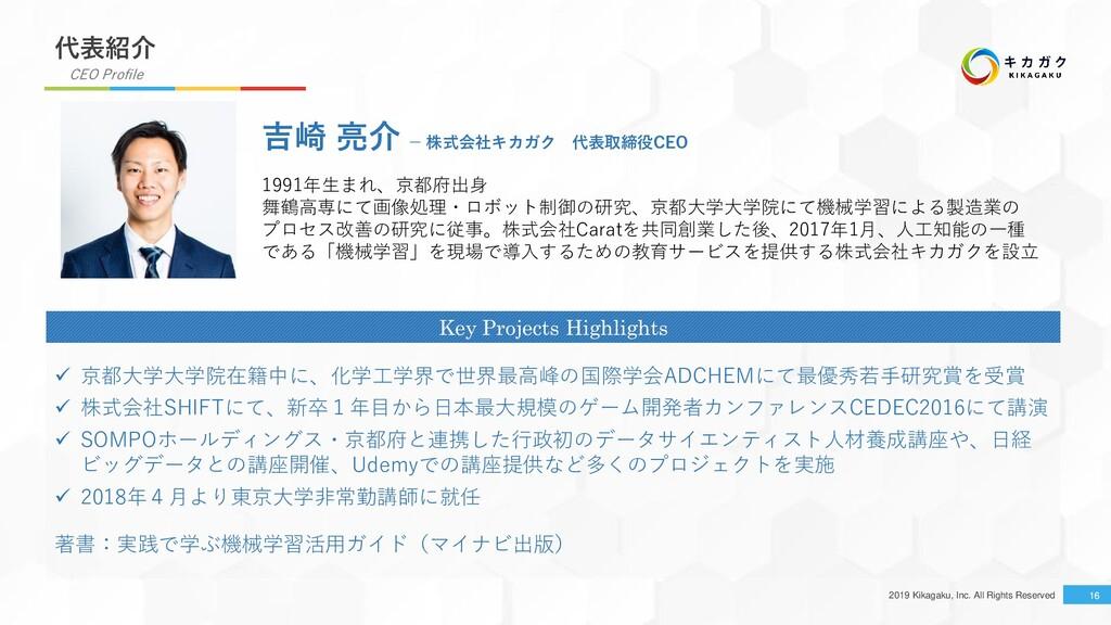 2019 Kikagaku, Inc. All Rights Reserved 16 代表紹介...