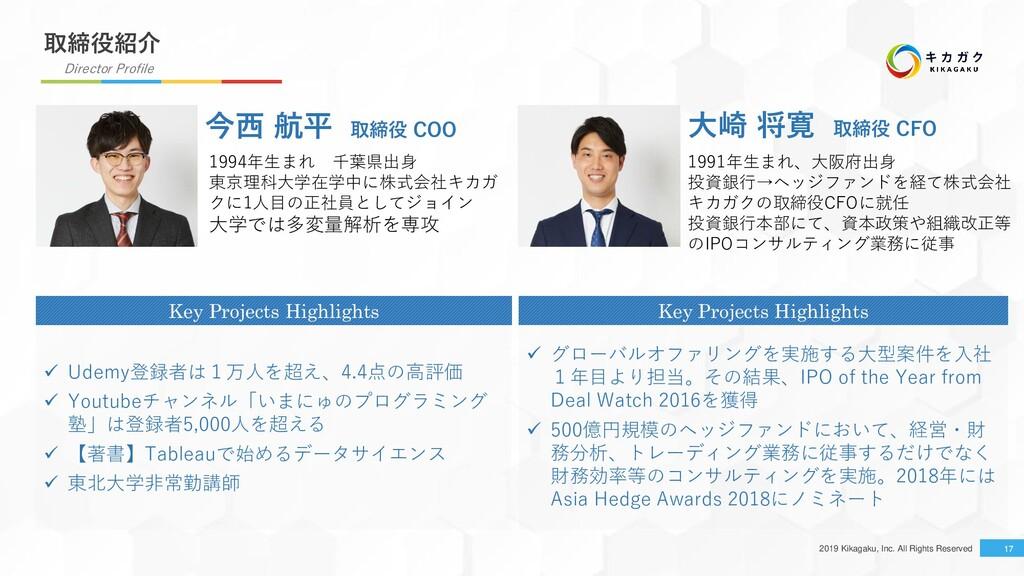 2019 Kikagaku, Inc. All Rights Reserved 17 取締役紹...