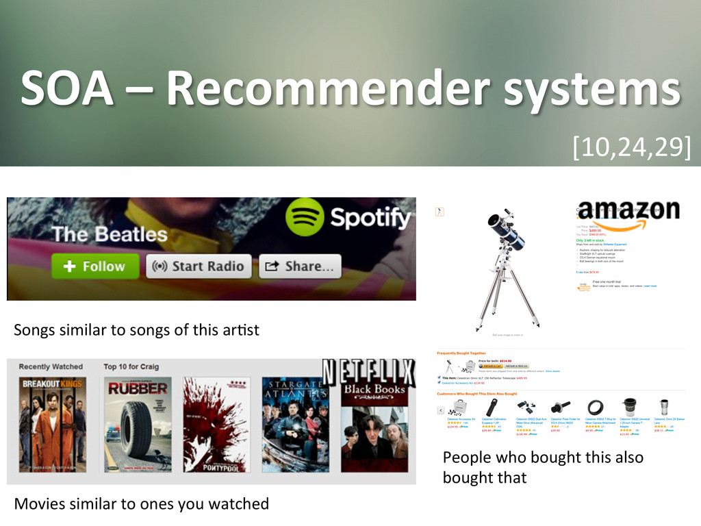 SOA – Recommender systems  [10,24,2...