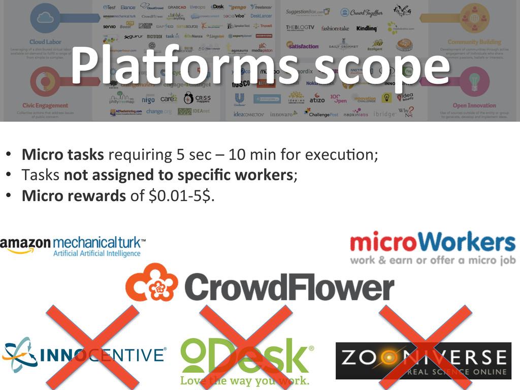 Pla8orms scope  • Micro tasks requ...