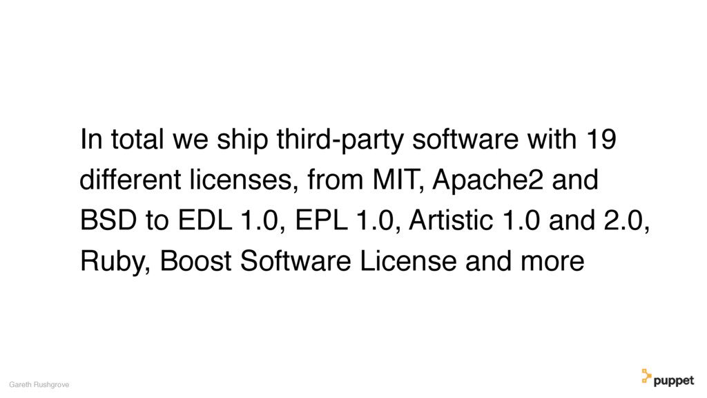 In total we ship third-party software with 19 d...
