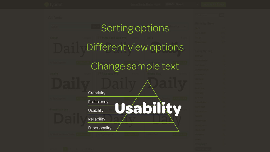 Sorting options Different view options Change s...
