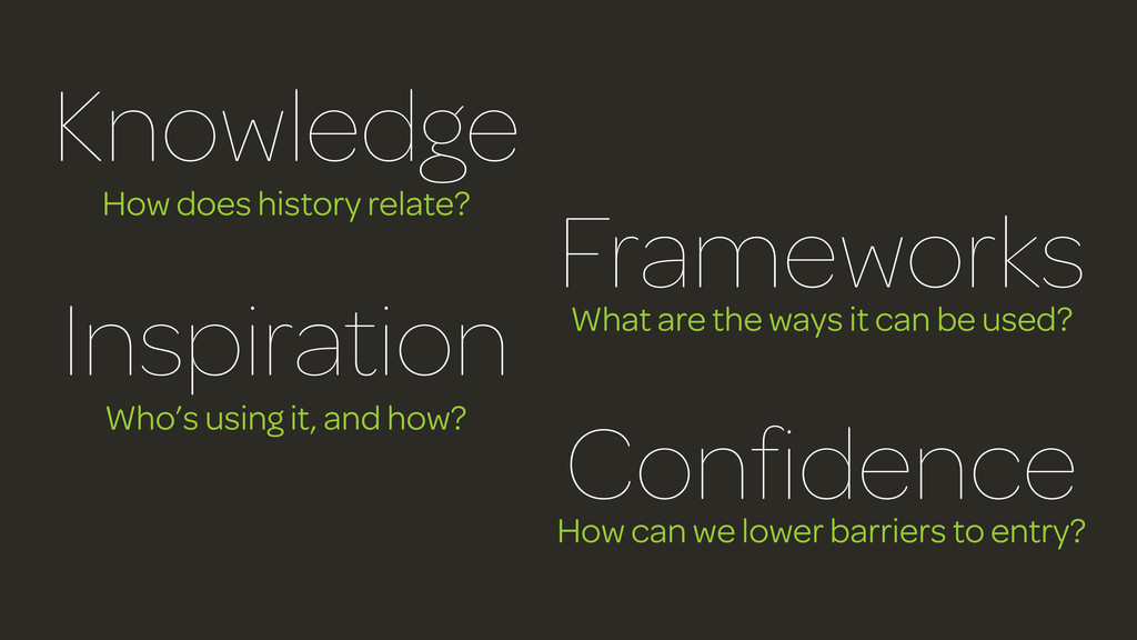 Knowledge How does history relate? Frameworks W...