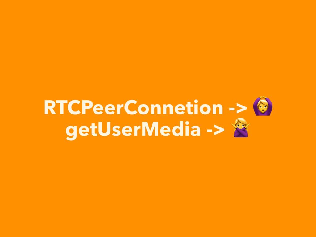 RTCPeerConnetion ->  getUserMedia ->