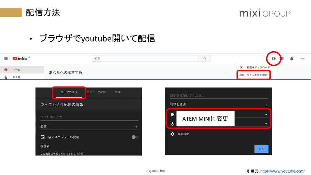 (C) mixi, Inc. 配信方法 • ブラウザでyoutube開いて配信 ATEM MI...