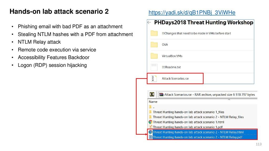 113 Hands-on lab attack scenario 2 • Phishing e...