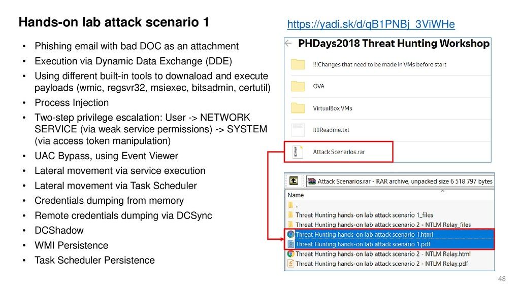 48 Hands-on lab attack scenario 1 • Phishing em...