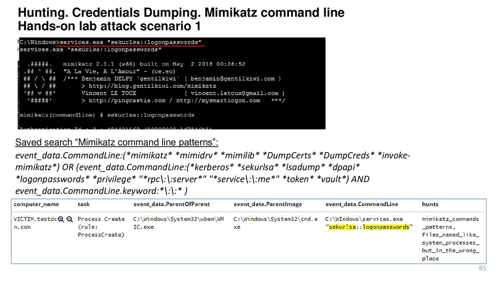 85 Hunting. Credentials Dumping. Mimikatz comma...