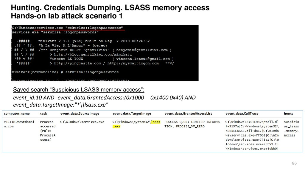 86 Hunting. Credentials Dumping. LSASS memory a...