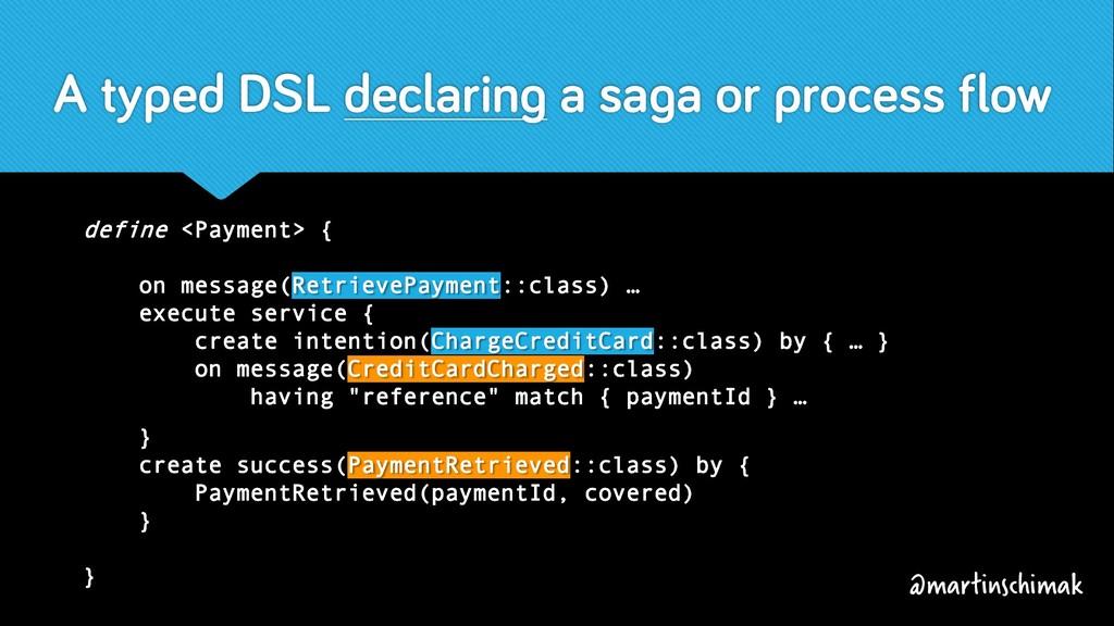 A typed DSL declaring a saga or process flow de...