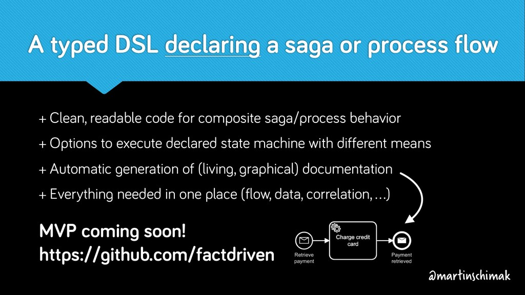 A typed DSL declaring a saga or process flow + ...
