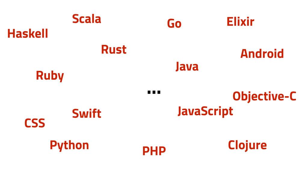 Ruby JavaScript Elixir Python Scala Swift Andro...