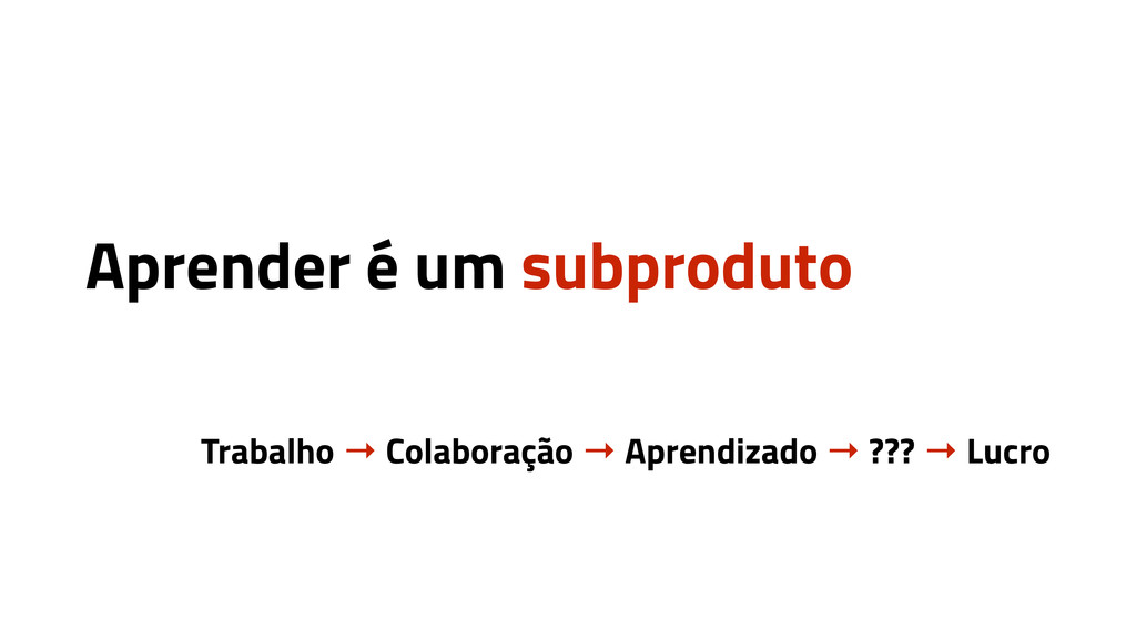 Aprender é um subproduto Trabalho → Colaboração...