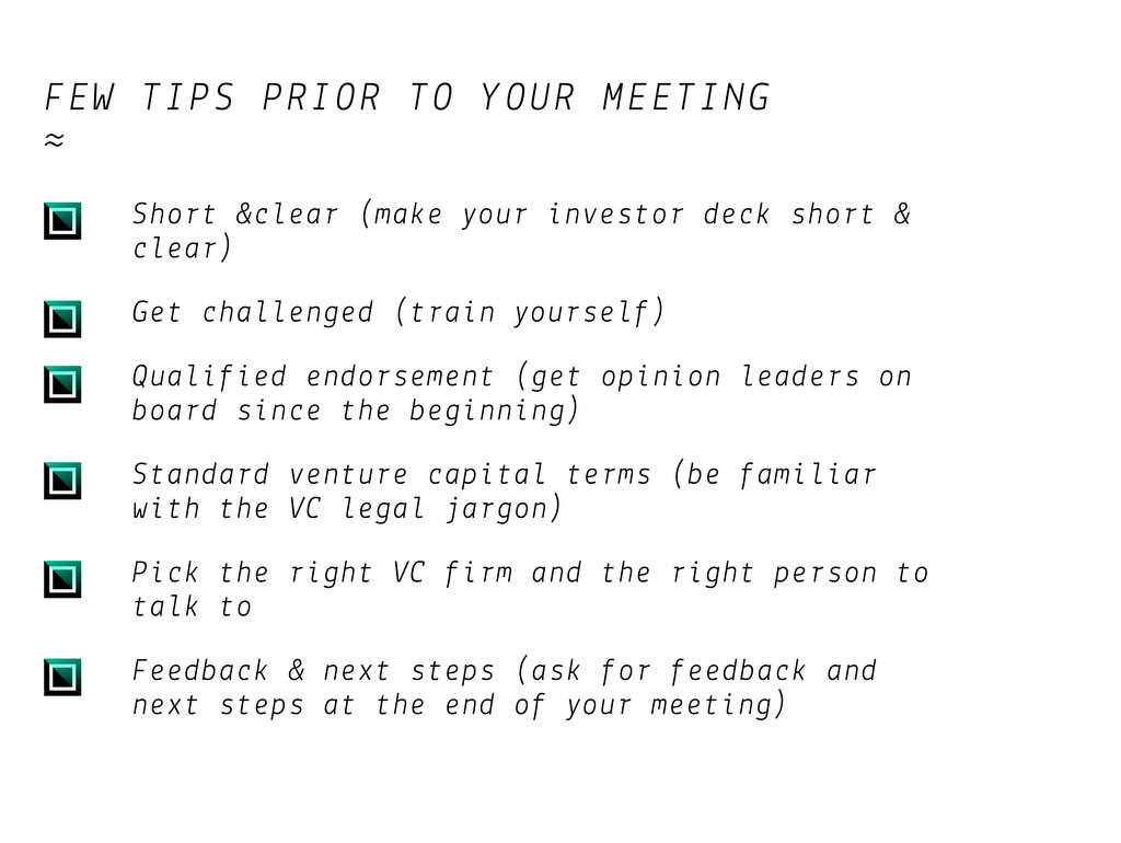 FEW TIPS PRIOR TO YOUR MEETING ≈ Short &clear (...