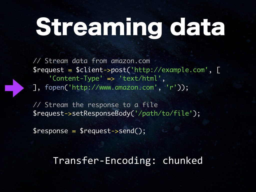 // Stream data from amazon.com $request = $clie...