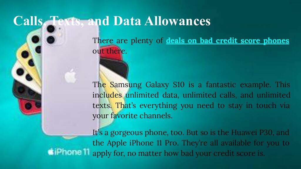 Calls, Texts, and Data Allowances There are ple...