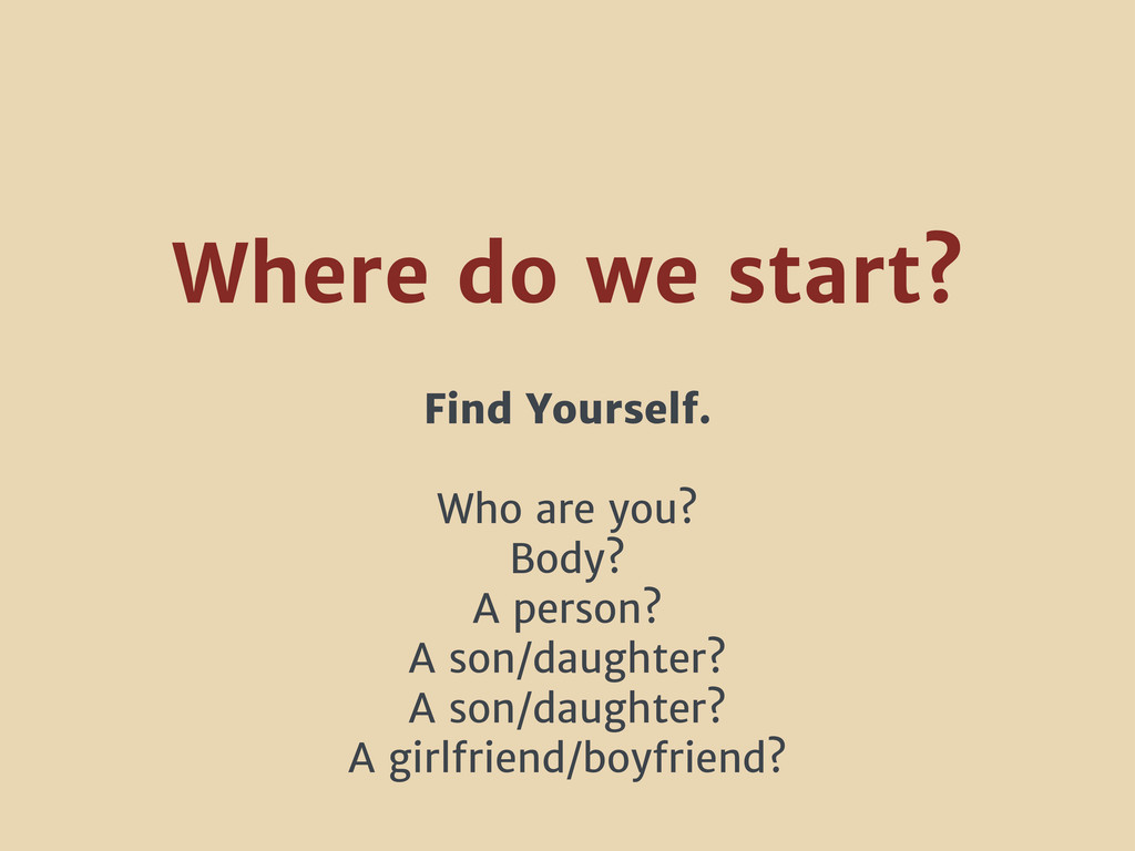 Find Yourself. Who are you? Body? A person? A s...
