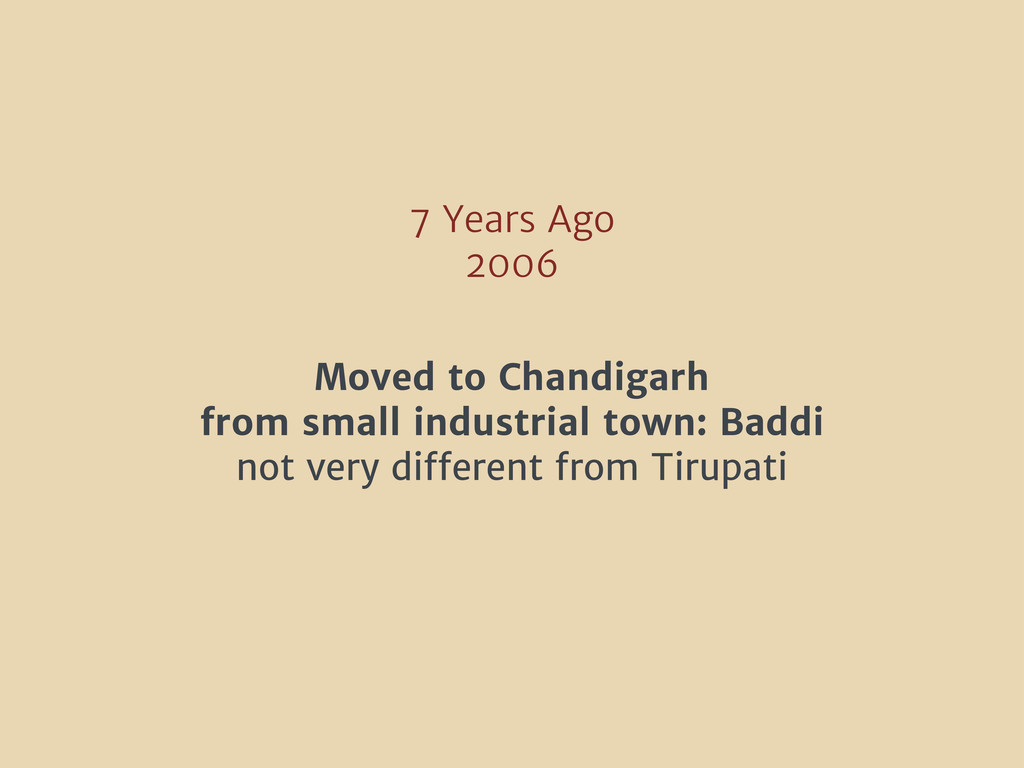 7 Years Ago 2006 Moved to Chandigarh from small...