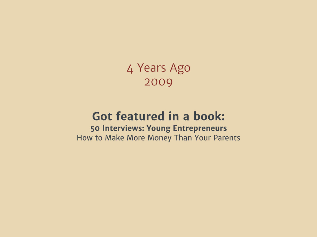4 Years Ago 2009 Got featured in a book: 50 Int...