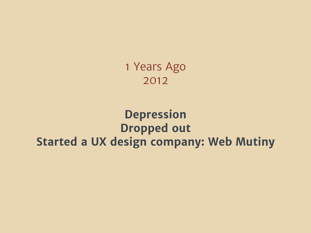 1 Years Ago 2012 Depression Dropped out Started...