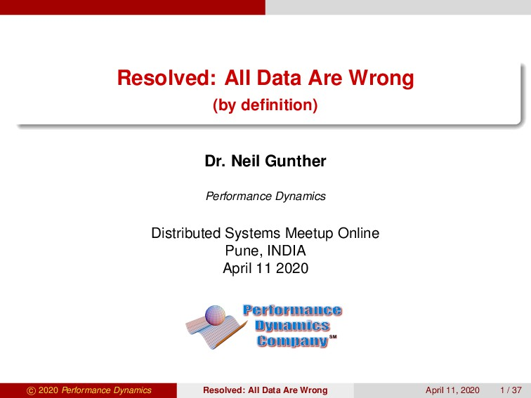 Resolved: All Data Are Wrong (by definition) Dr....