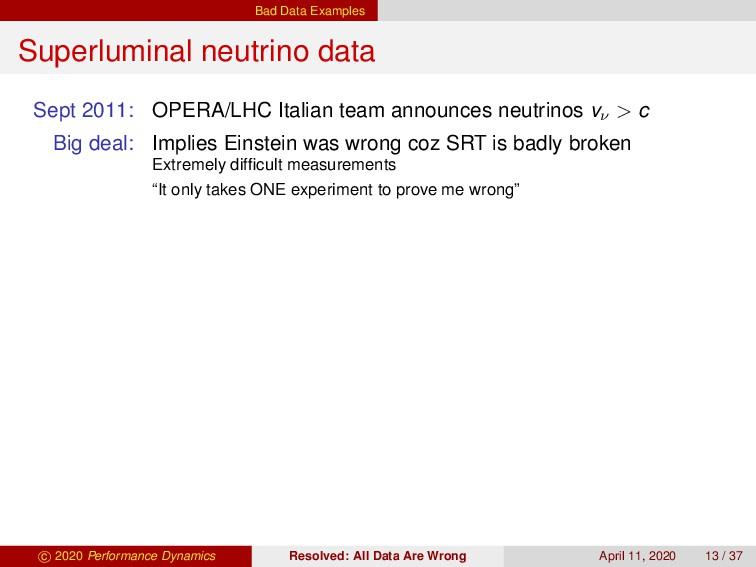 Bad Data Examples Superluminal neutrino data Se...