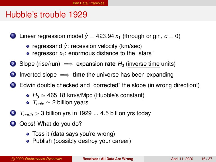 Bad Data Examples Hubble's trouble 1929 1 Linea...