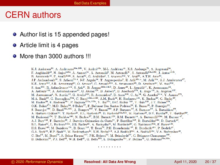 Bad Data Examples CERN authors Author list is 1...