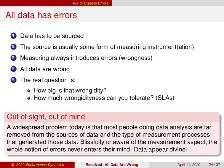 How to Express Errors All data has errors 1 Dat...