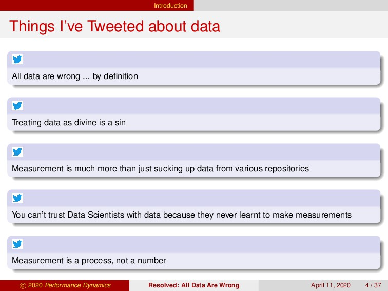 Introduction Things I've Tweeted about data All...