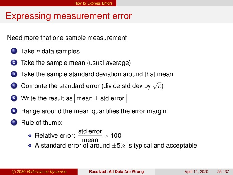 How to Express Errors Expressing measurement er...