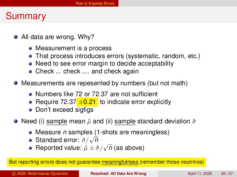 How to Express Errors Summary All data are wron...