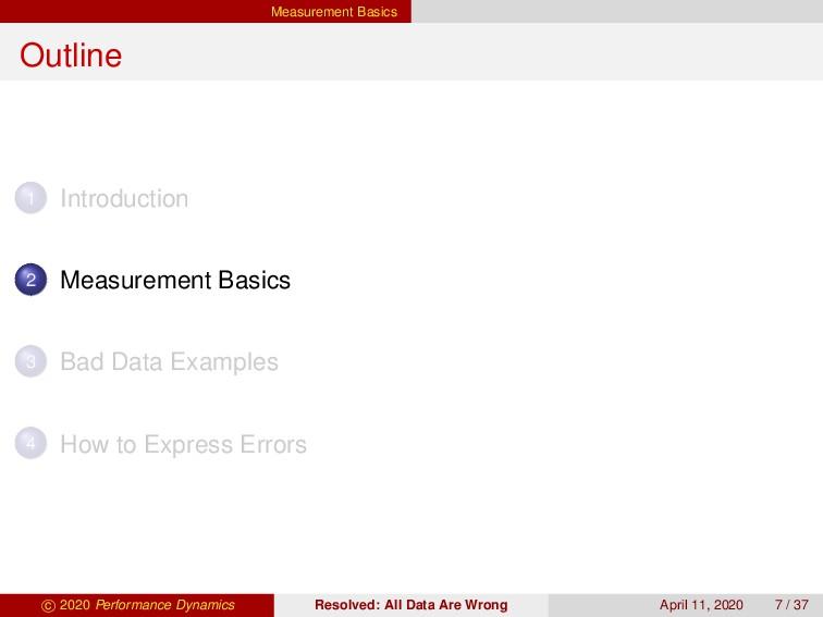 Measurement Basics Outline 1 Introduction 2 Mea...